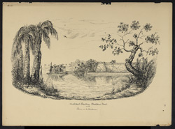 'North East Bastion.  Bukkur Fort with Roree in the Distance'. Worked up from an earlier sketch of July 1842